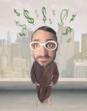 Grote hoofdpersoon met de tekens van de ideedollar Stock Foto