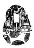 Grote illustratio van de rooster korrelige verticale zwart-witte manier Stock Foto's
