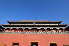 Grote ingang Wumen aan het Chinese koninklijke paleis Stock Foto's