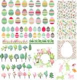 Grote inzameling met paaseieren en de lentebomen Royalty-vrije Stock Afbeeldingen