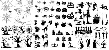Grote inzameling van de Gelukkige Magische inzameling van Halloween, Hand getrokken v vector illustratie