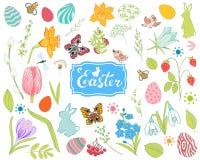 Grote inzameling van de lentebloemen, paaseieren, konijnen vector illustratie