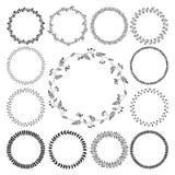 Grote inzameling van getrokken cirkel leuke hand bloemen Stock Afbeelding