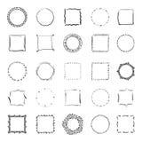 Grote inzameling van handdrawn grenzen Vectorverdelers Royalty-vrije Stock Afbeeldingen