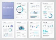 Grote inzameling van infographic bedrijfsbrochures en grafiek Royalty-vrije Stock Foto