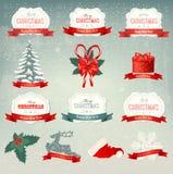 Grote inzameling van Kerstmispictogrammen en ontwerp eleme Stock Foto