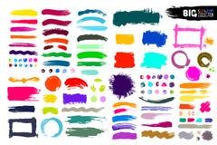 Grote inzameling van kleurenverf, de slagen van de inktborstel, borstels, lijnen Vuile artistieke ontwerpelementen, dozen, kaders Stock Foto