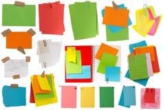 Grote inzameling van kleurrijke nota's Stock Foto's