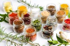 Grote inzameling van kruiden in kleine kommen stock foto