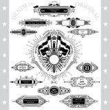 Grote inzameling van mongram of denimemblemen in lijnstijl Royalty-vrije Stock Foto