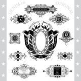Grote inzameling van mongram of denimetiketten in lijnstijl Royalty-vrije Stock Fotografie