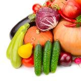 Grote inzameling van nuttige die groenten en vruchten op whi worden geïsoleerd stock afbeeldingen