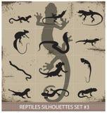 Grote inzameling van vectorreptielensilhouetten Royalty-vrije Stock Fotografie