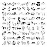 Grote inzameling van vele beeldverhaaldieren in vector Royalty-vrije Stock Foto