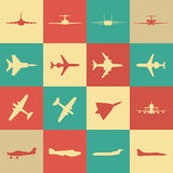 Grote inzameling van verschillende vliegtuigpictogrammen Royalty-vrije Stock Afbeelding