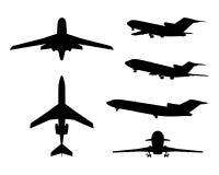 Grote inzameling van verschillende vliegtuigsilhouetten Stock Afbeeldingen