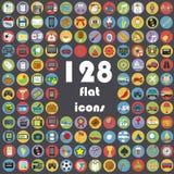Grote inzameling van vlakke pictogrammen Stock Foto's