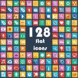 Grote inzameling van vlakke pictogrammen - Vervoer, Mededeling, Sport, Multimedia, Muziek, Weer, Enz. Stock Afbeeldingen