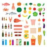 Grote inzameling van voedselpunten Stock Fotografie