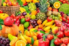 Grote inzameling van vruchten en groenten Royalty-vrije Stock Afbeeldingen