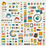 Grote inzamelingen van vlakke het ontwerpdiagrammen van de informatiegrafiek Stock Afbeelding