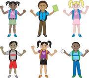 Grote Jonge geitjes van alle rassen op School royalty-vrije illustratie