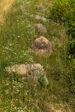 Grote keien op de grasrijke helling van de berg in de stralen van zonlicht Royalty-vrije Stock Foto