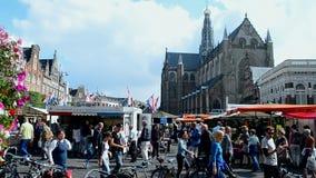 Grote Kerk (Large Church), Grote Markt, Haarlem,. HAARLEM - SEP 13: Grote Kerk (Large Church) on the Grote Markt - central market square on September 13, 2014 in stock footage