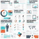 Grote kleurrijke reeks infographic bedrijfselementen in vectorformaat Stock Afbeelding