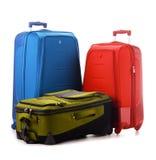 Grote koffers die op wit worden geïsoleerdr Royalty-vrije Stock Foto