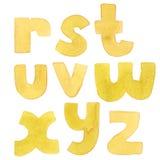 Grote korrelige waterverf heldere brieven Gewaagde alfabetopeenvolging van R aan Z Heldere gele doopvont Stock Foto's