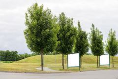 Grote lege aanplakborden langs een weg met bomen, banners met ruimte om uw eigen tekst toe te voegen Stock Foto's