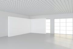 Grote lege ruimte met bevindende aanplakborden het 3d teruggeven Stock Afbeelding