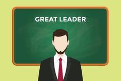 Grote leidersillustratie met een mens die een zwart kostuum voor groen schoolbord en witte teksten dragen stock illustratie