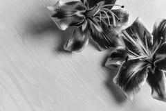 Grote lelies op een houten lijst Royalty-vrije Stock Foto's