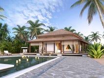 Grote luxebungalowwen op de eilanden Royalty-vrije Stock Foto's