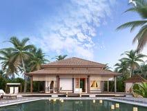Grote luxebungalowwen op de eilanden Stock Foto