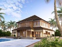 Grote luxevilla op oceanic eilanden Stock Afbeeldingen