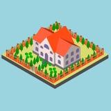 Grote manor in isometrisch en vector vector illustratie