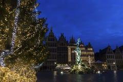Grote Markt in Antwerp in Belgium. During Christmas Royalty Free Stock Image