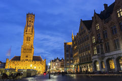 Grote Markt with Belfry of Bruges in Belgium Royalty Free Stock Image
