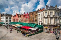 Grote Markt, Bruges, Belgien Arkivfoto