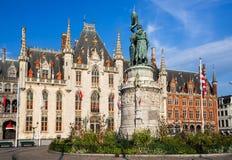 Grote Markt, Bruges, Flanders Arkivfoton