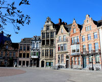 Grote Markt,  Dendermonde. DENDERMONDE, BELGIUM, MARCH 27 2017: Historic buildings which surround the main Market Place Grote Markt in Dendermonde, a town in Stock Photo