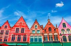 Grote Markt fyrkant i Brugge royaltyfri bild