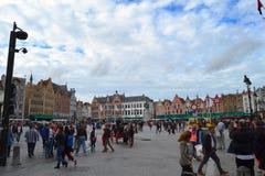 Grote markt i Brugge Arkivbild