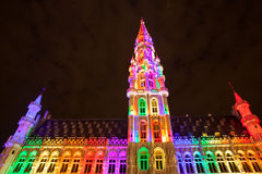 Grote Markt - The main square and Town hall of Brussels Stock Images