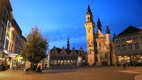 Grote Markt square of Aalst in the evening stock video