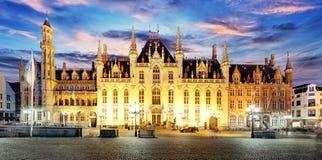 Grote Markt square in Bruges -Brugge, Belgium. Royalty Free Stock Images