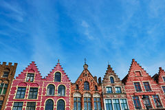 Grote Markt square in Brugge at morning, Belgium Royalty Free Stock Photos